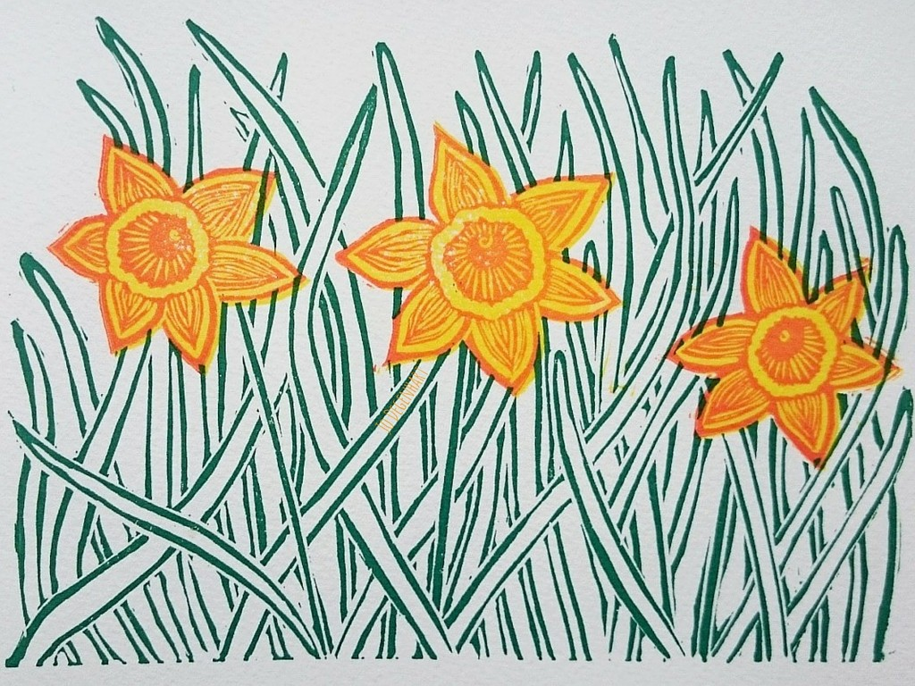 Spring Daffodil Lino Print