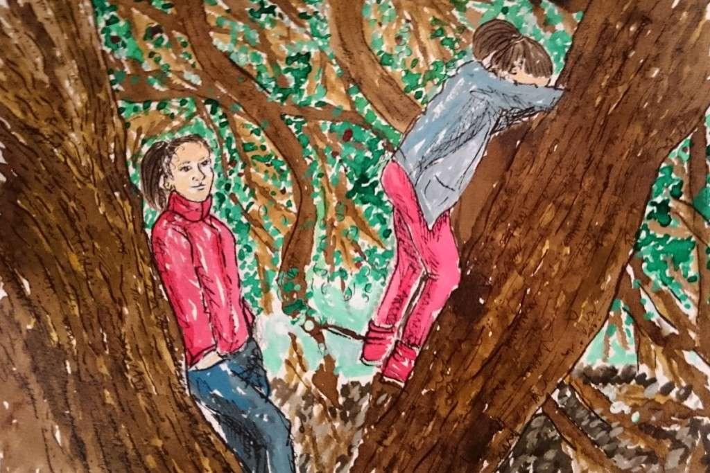 Day 18 Leaning on trees by Jo Degenhart