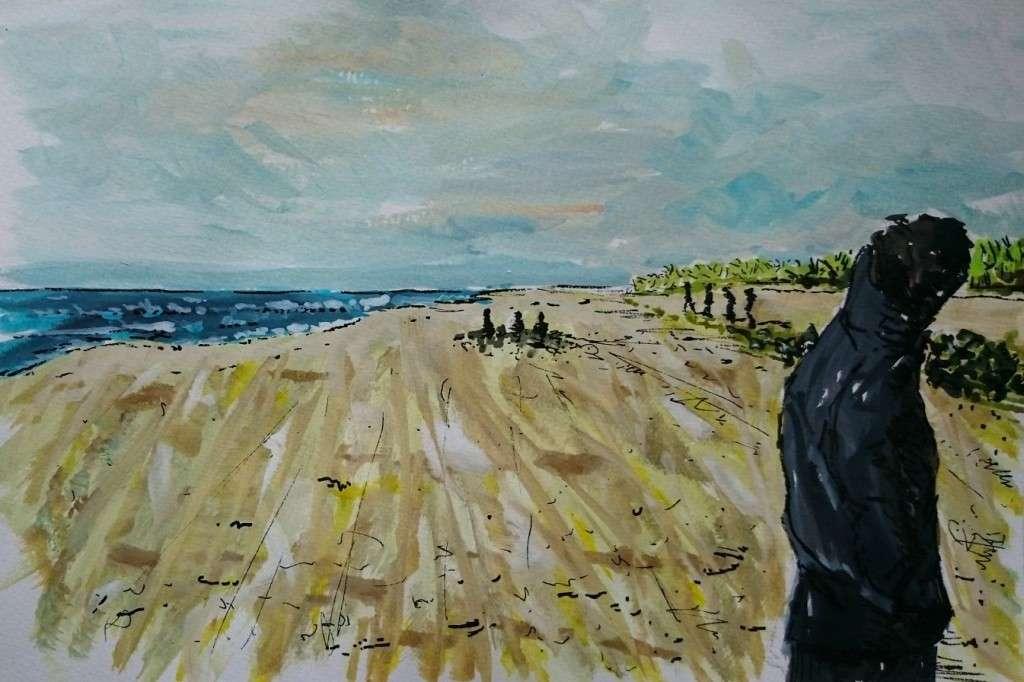 Day 19 Windy beach walk by Jo Degenhart