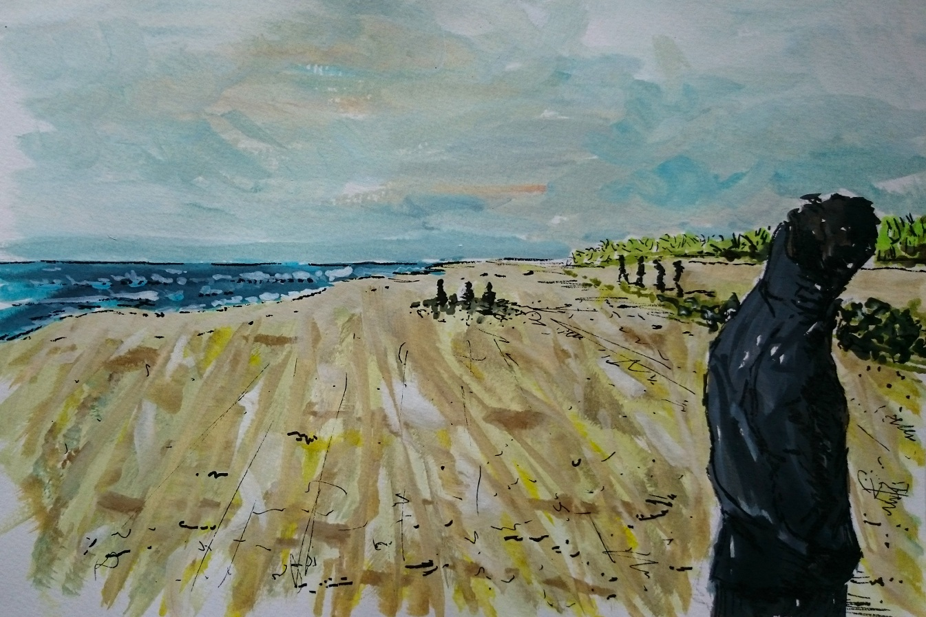 Day 19 Windy beach walk by Jo Degenhart