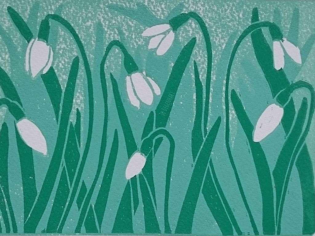Spring Snowdrops Linoprint