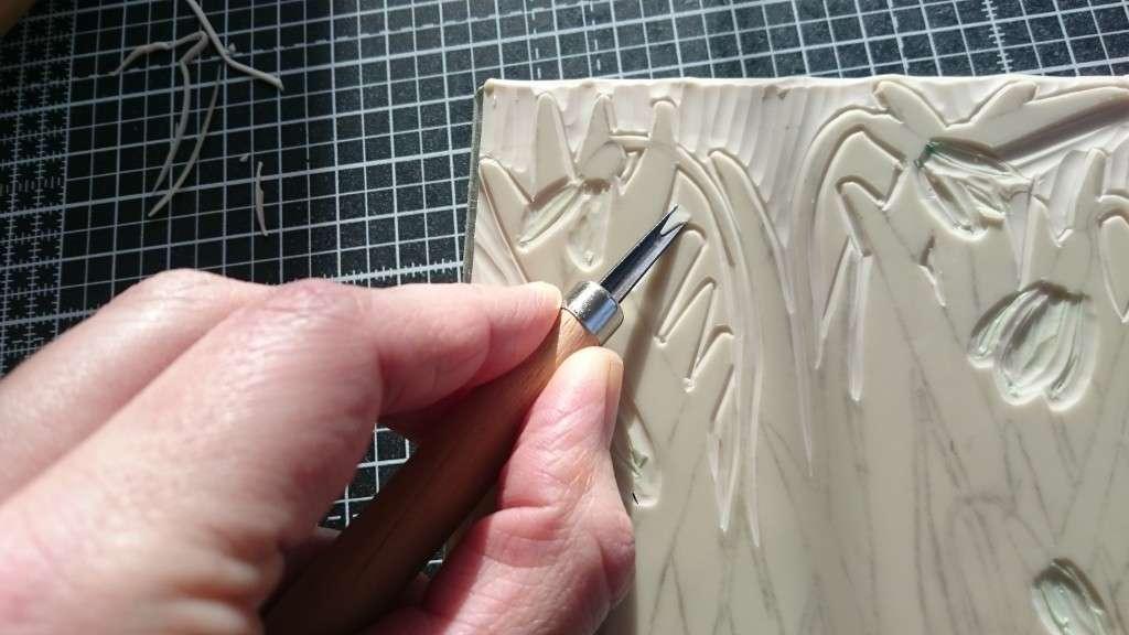 Spring Snowdrops Print by Jo Degenhart carving