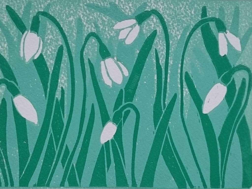 Spring Snowdrops Print by Jo Degenhart