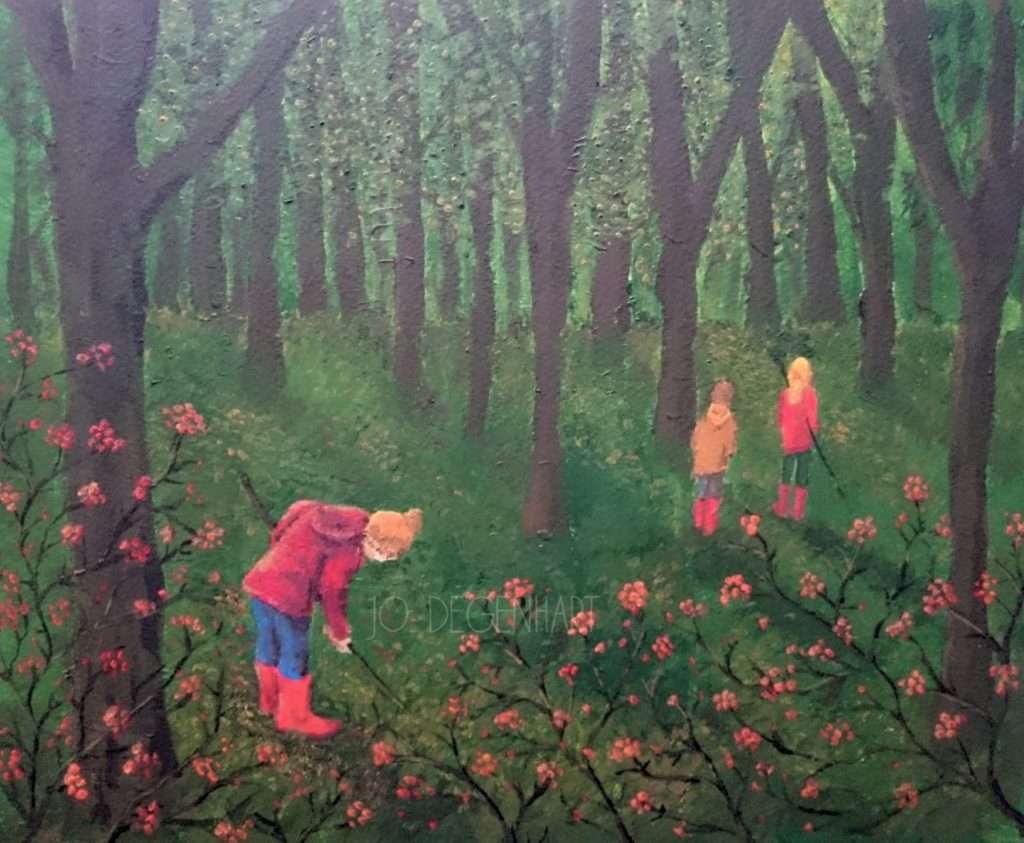 Digging in the leaves by Jo Degenhart