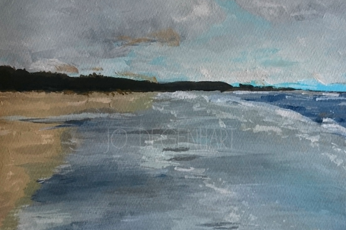 A Cloudy Day on Harlech Beach by Jo Degenhart