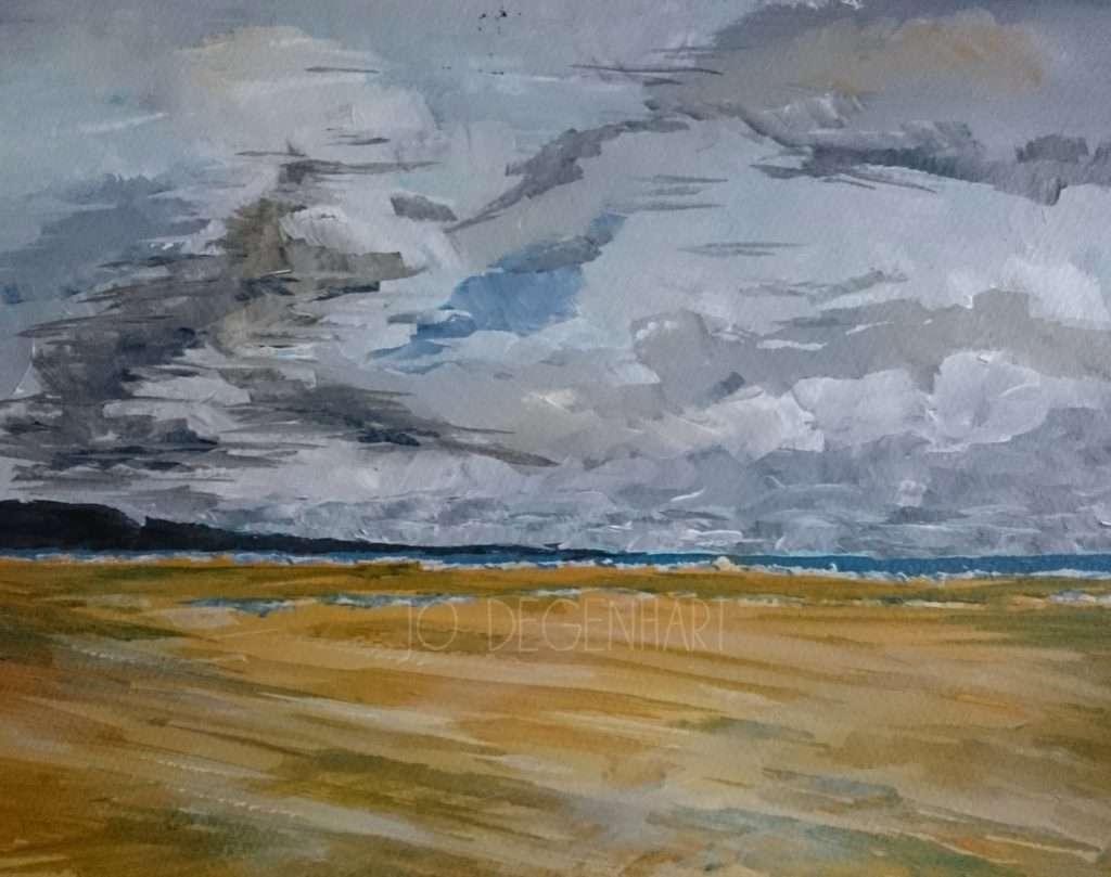 The Wind at Harlech Beach by Jo Degenhart