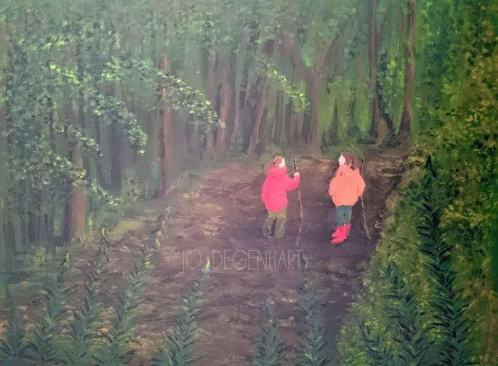 Sisters walking in the Woods by Jo Degenhart