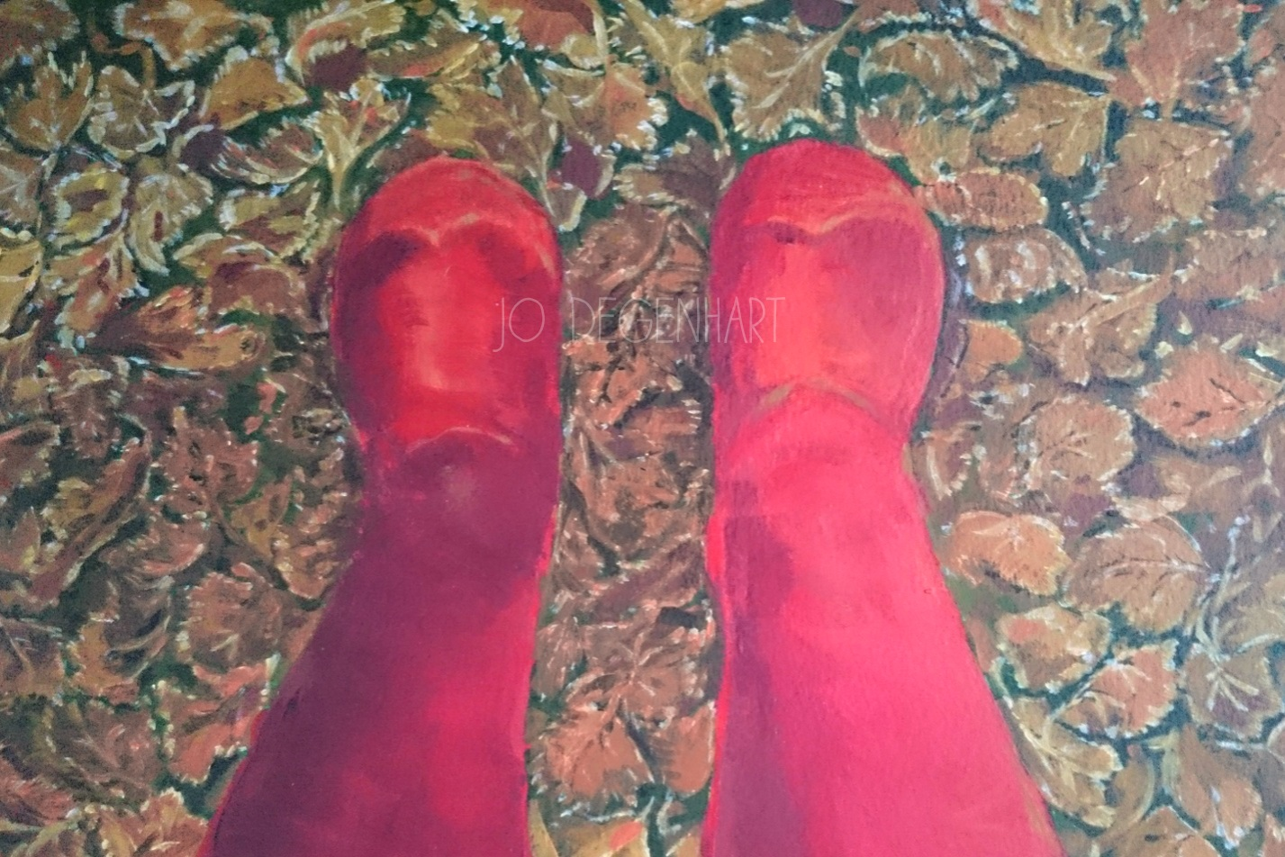 Red Wellies in the leaves by Jo Degenhart