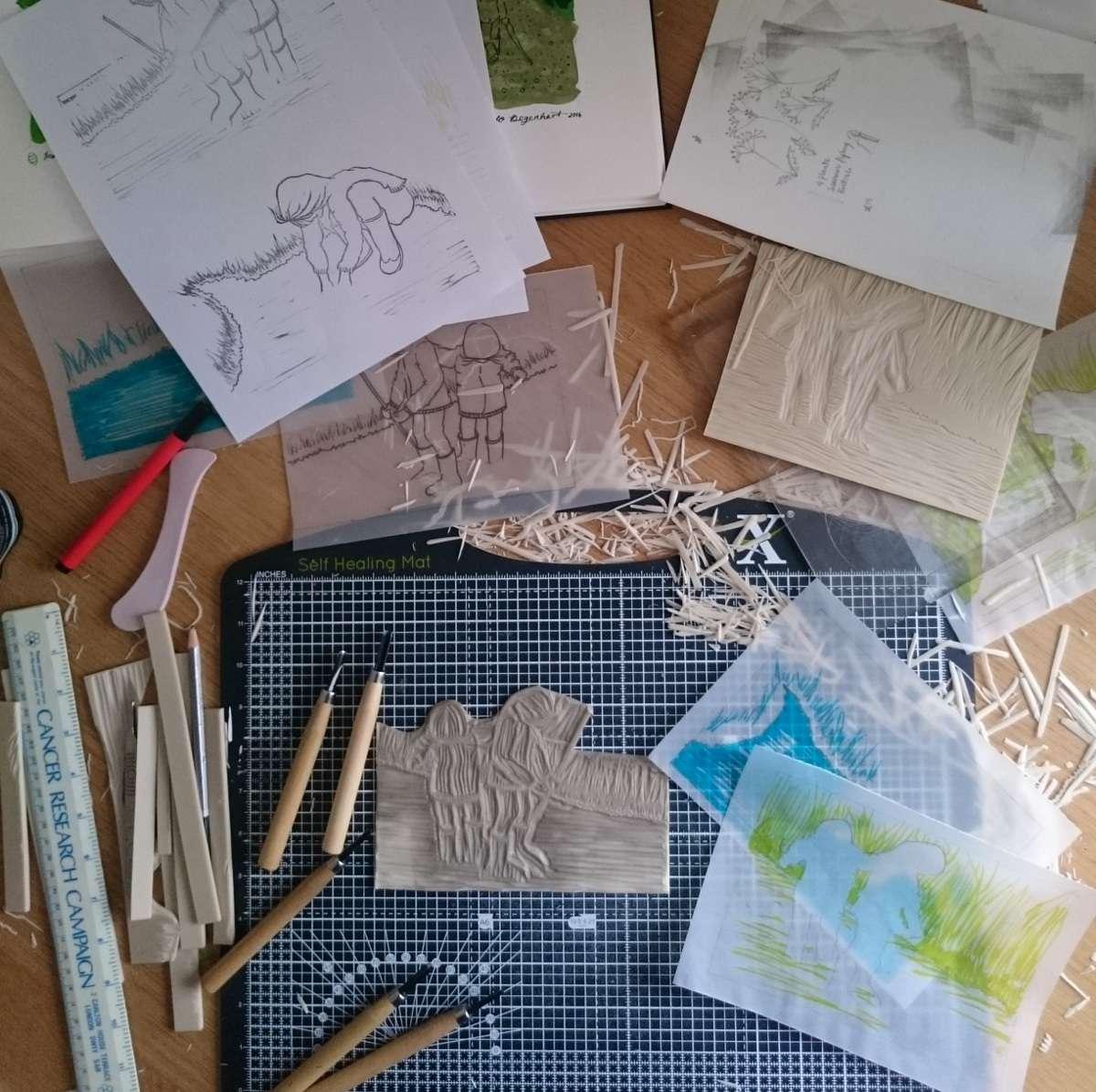 My lino printing desk by Jo Degenhart