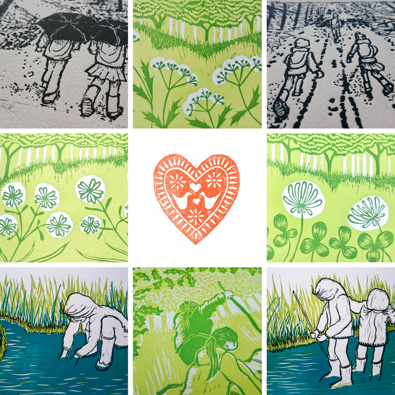 Lino prints by Jo Degenhart