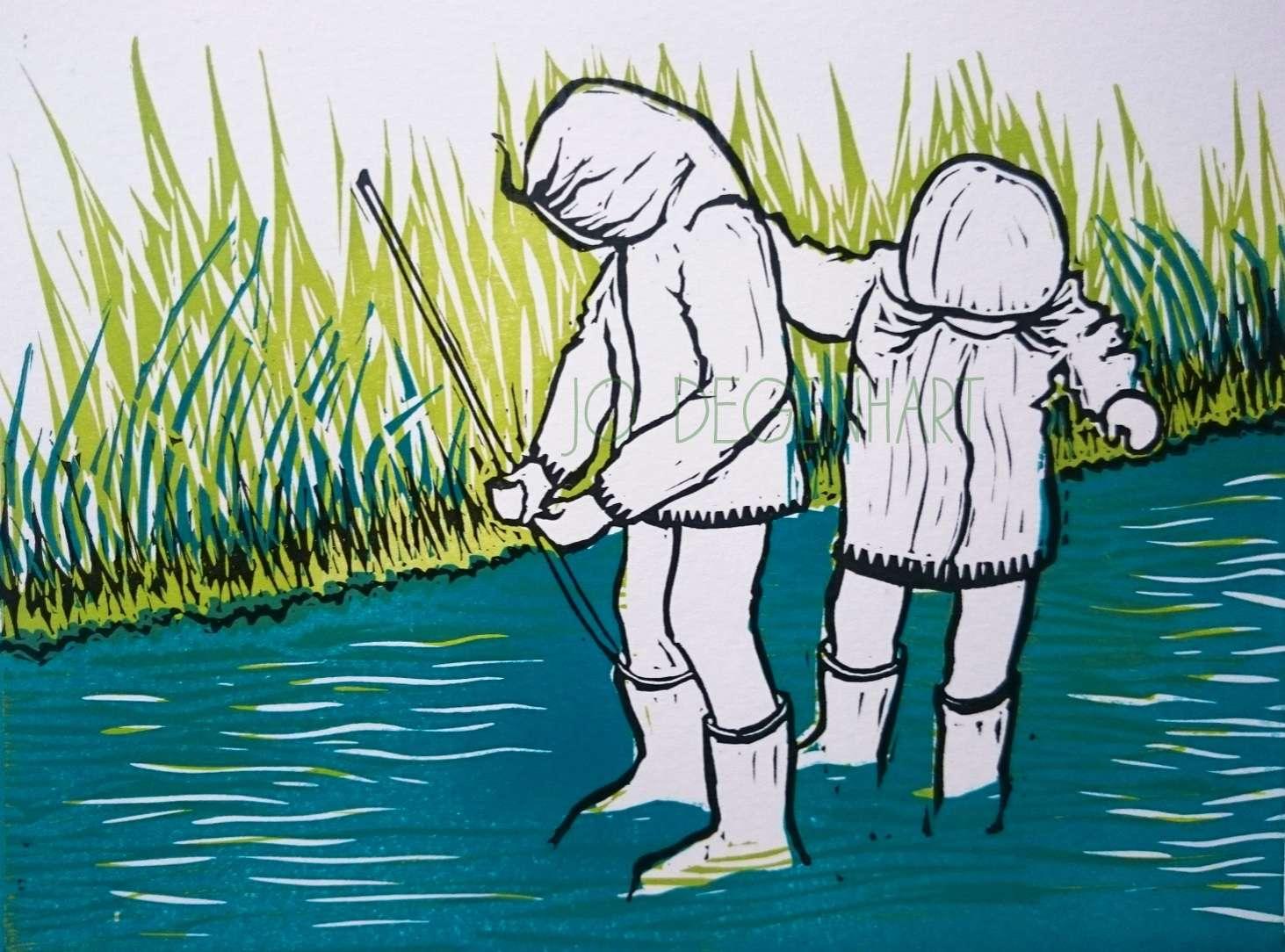 'Sisters Paddling' a lino print by Jo Degenhart