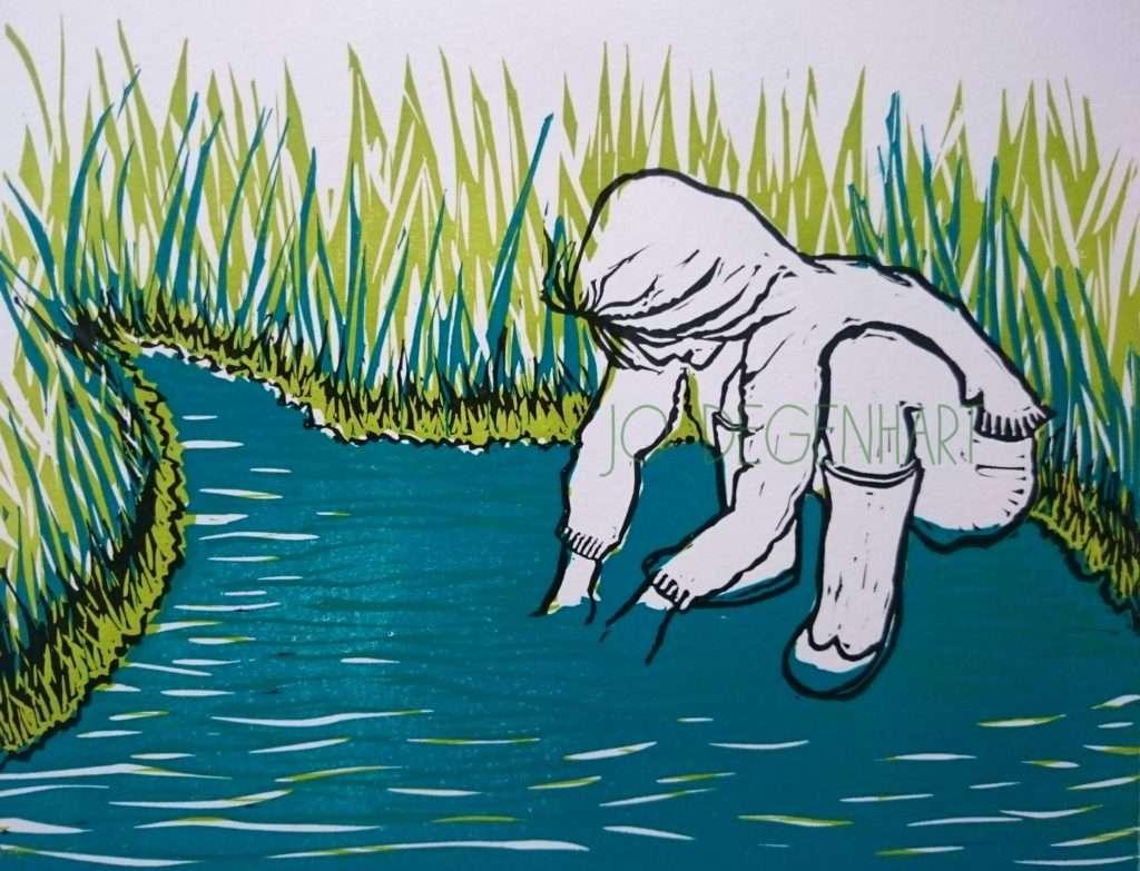 'Paddling in the Stream' a lino print by Jo Degenhart