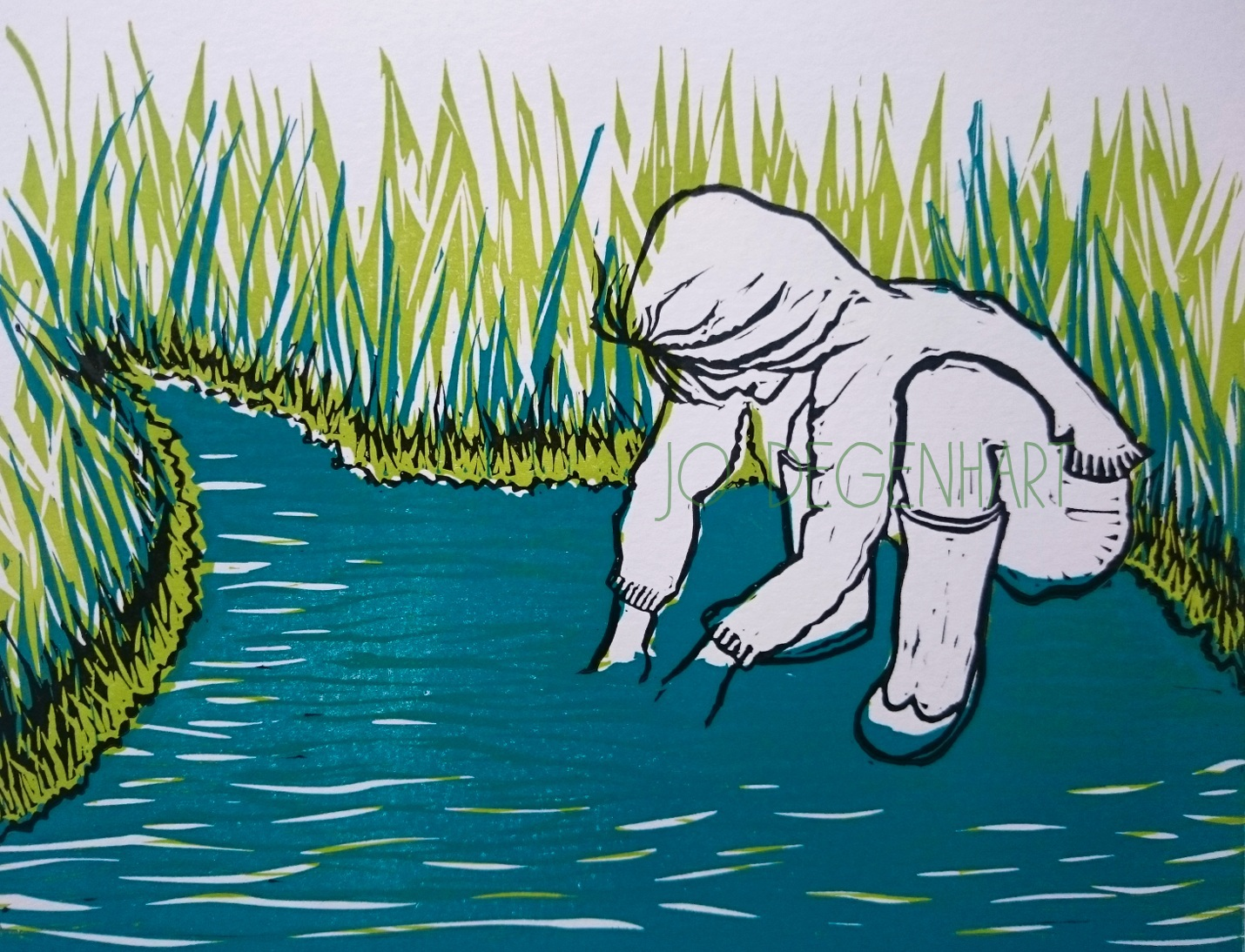 'Paddling in the Stream' a lino print by Jo Degenhart