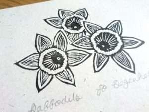 'Daffodils' a lino print by Jo Degenhart
