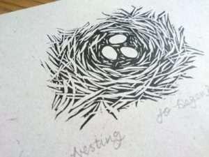 'Nesting' a lino print by Jo Degenhart