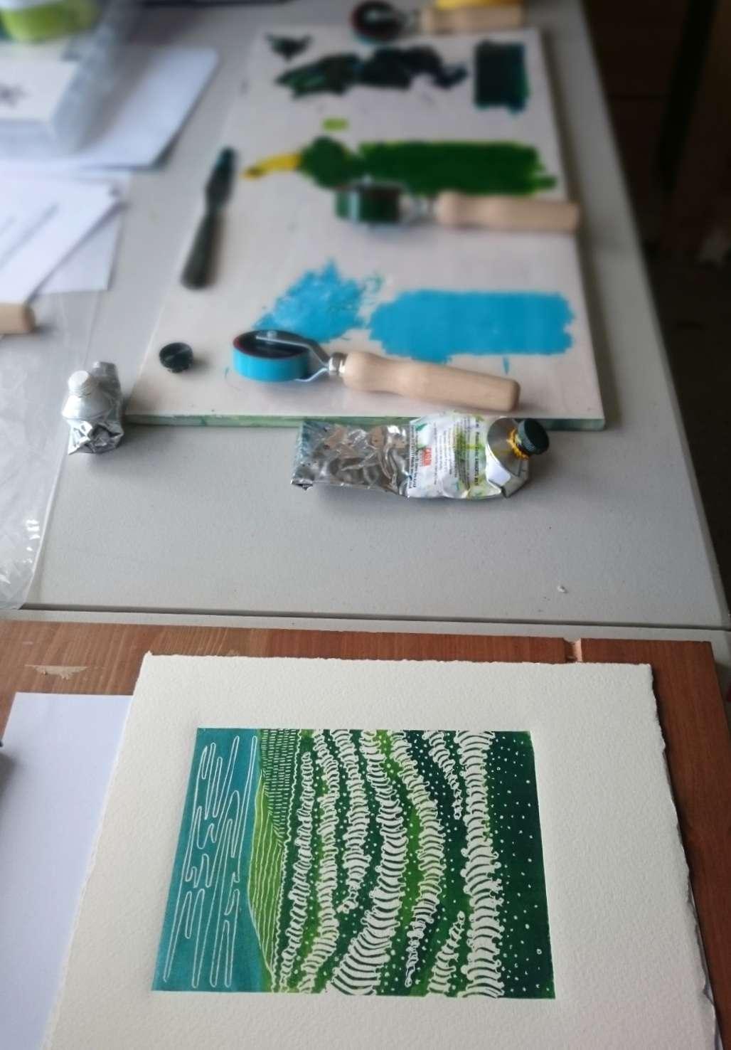 Sea Foam a lino print by Jo Degenhart