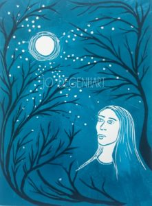 Moonlight a lino print by Jo Degenhart