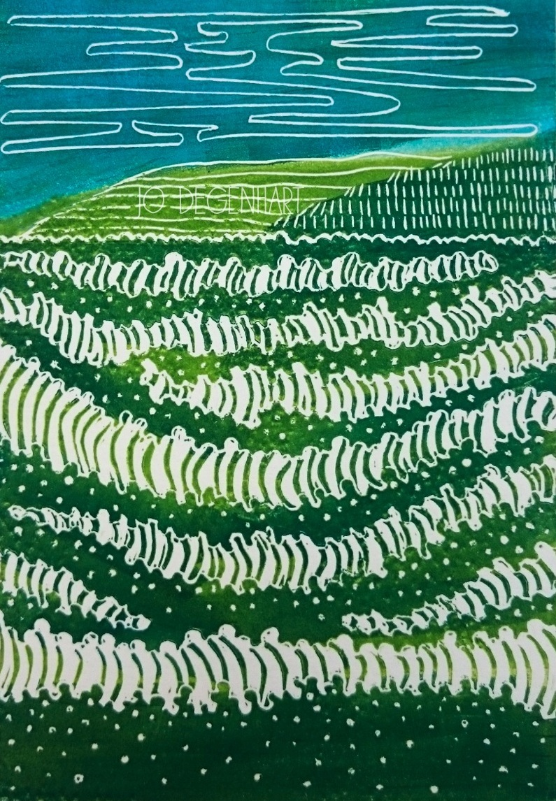 'Sea Foam' a lino print by Jo Degenhart