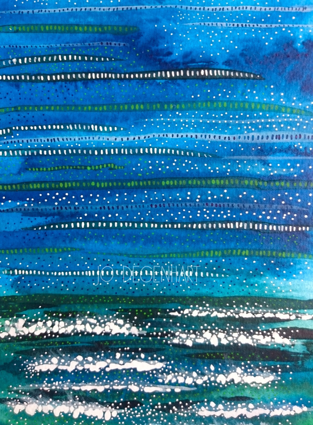 Experiment in seascape using Acrylic Ink by Jo Degenhart