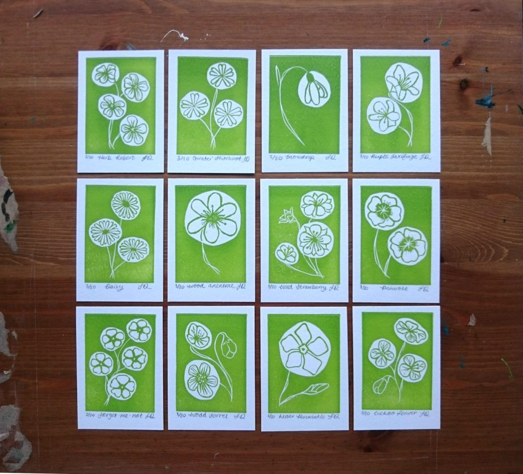 Wildflower ACEOs lino printed by Jo Degenhart