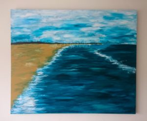 Large canvas of Harlech Beach by Jo Degenhart