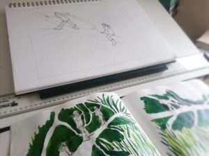 Tree Skeleton drawings for lino print by Jo Degenhart