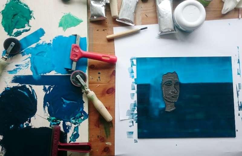 Printing On the Horizon a lino print by Jo Degenhart