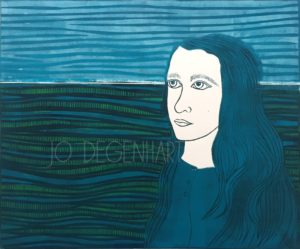 On the Horizon a lino print by Jo Degenhart