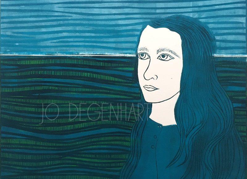 On the Horizon a lino print by Jo Degenhart