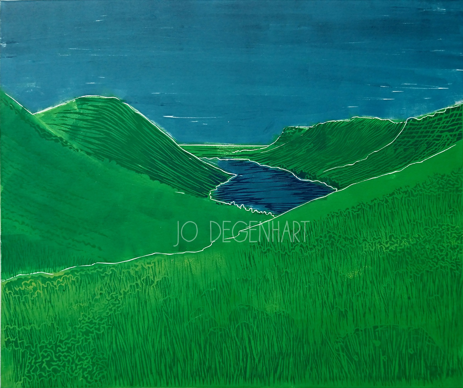 Wast Water from Hollow Stones lino print by Jo Degenhart