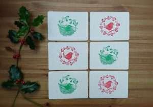 Wren and Song Thrush Christmas Postcards