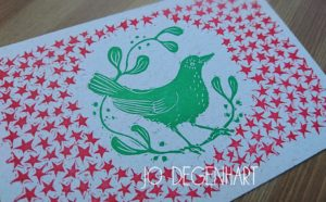 British birds Lino Printed Postcards by Jo Degenhart