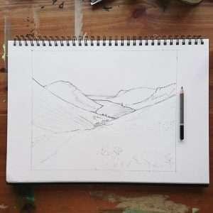 Wast Water Sketch by Jo Degenhart