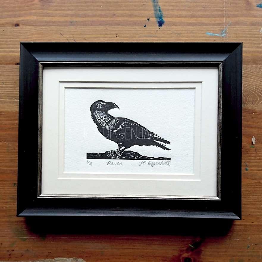 Raven Lino Print by Jo Degenhart