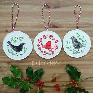 British birds Lino Printed Decorations by Jo Degenhart