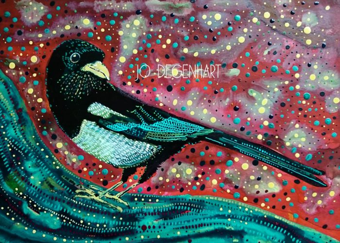 Magpie painting by Jo Degenhart