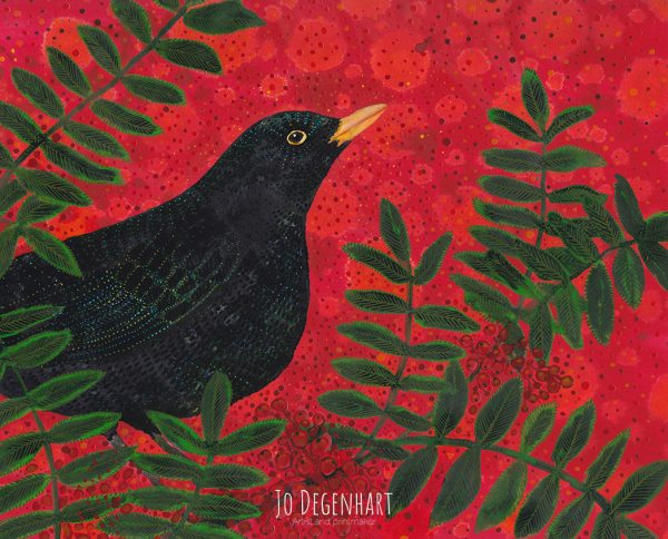 Blackbird in the Rowan by Jo Degenhart