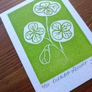 Cuckoo FLower Lino Print ACEO by Jo Degenhart