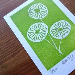 Daisy Lino Print ACEO by Jo Degenhart