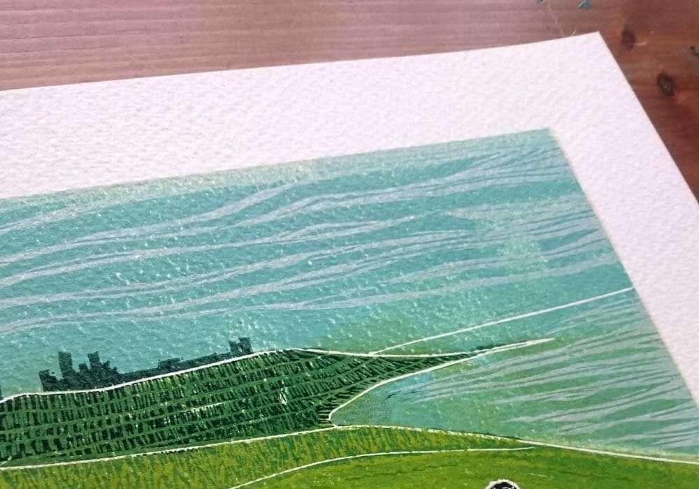 Walk to Dunstanburgh, a lino print by Jo Degenhart