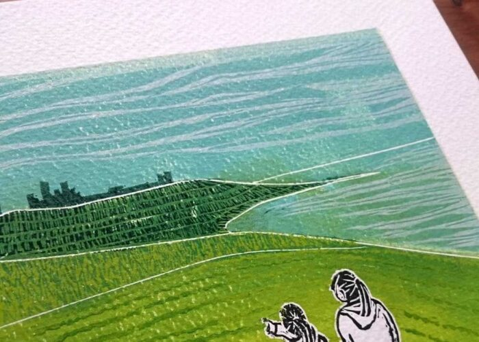 Walk to Dunstanburgh, a lino print by Jo Degenhart
