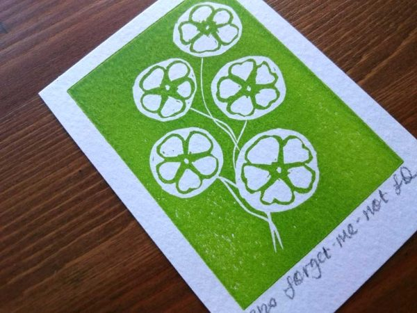 Forget-me-not ACEO Lino Print by Jo Degenhart