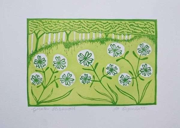 Greater Stitchwort Original Lino Print by Jo Degenhart