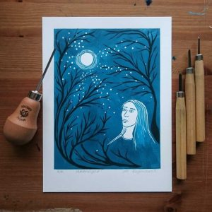 Moonlight Lino Print by Jo Degenhart