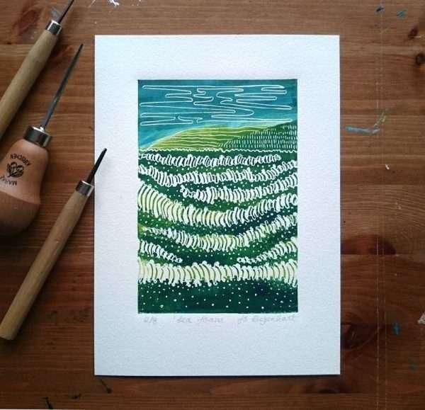 Seafoam lino print by Jo Degenhart