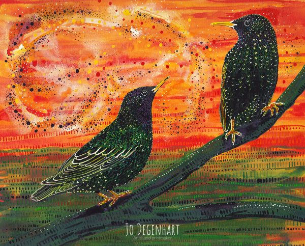 Starlings at Dusk by Jo Degenhart