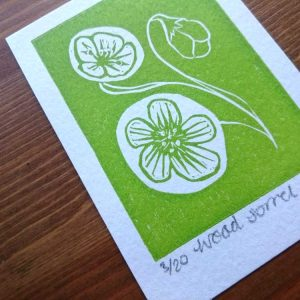 Wood Sorrel Lino Print by Jo Degenhart