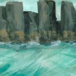Seascape paintings coastal cliffside
