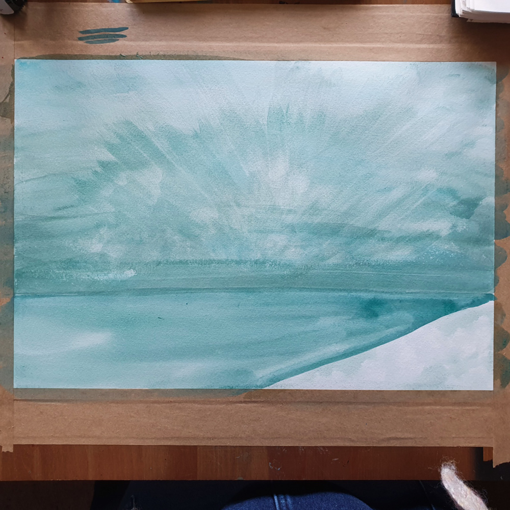 First layer of Seascape Painting by Jo Degenhart on stretched paper