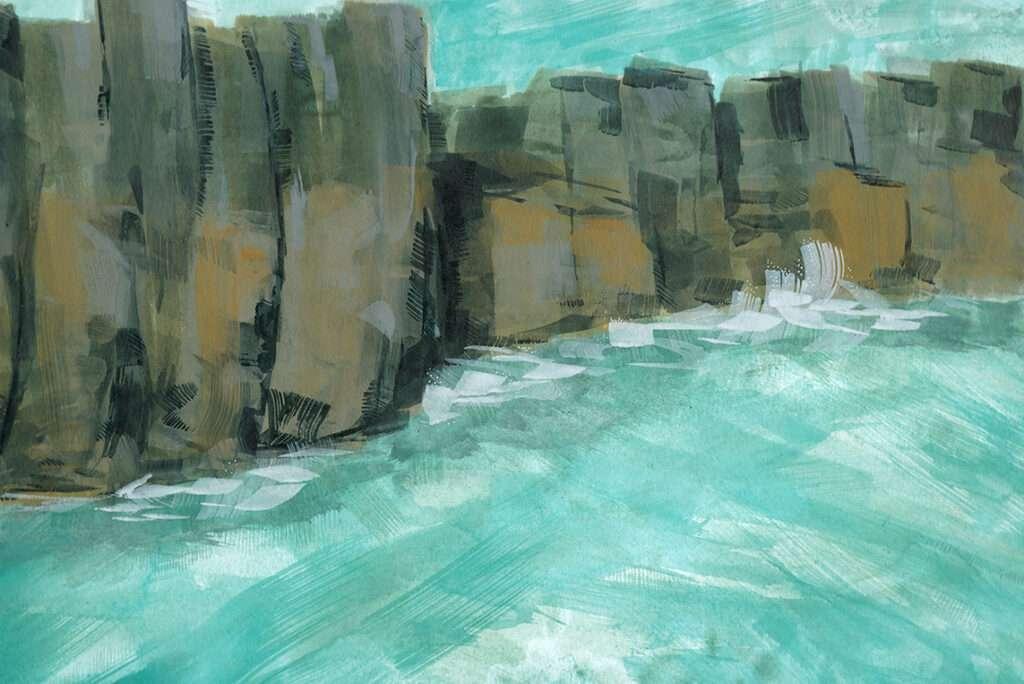 Seascape painting of a coastline near Farne Islands